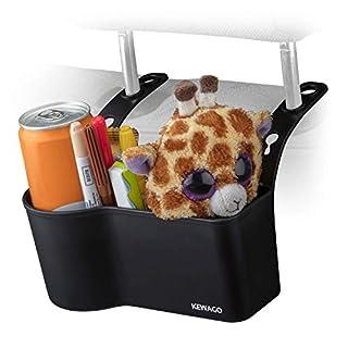 Kewago Auto Organizer mit Getränkehalter für die Kopfstütze | Für Verpflegung, Reiseutensilien und Spielsachen für Kinder | Stabil und Einfach an der Kopfstütze Anzubringen