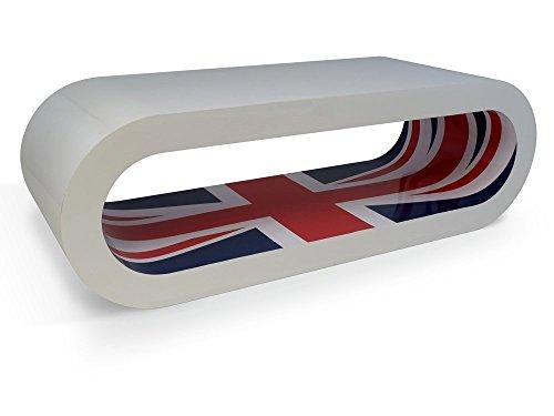 Zespoke Design Retro Blanc Brillant Prise D'Union Intérieure Café Cerceau Tableau/TV Meuble UK Fait Différentes Tailles