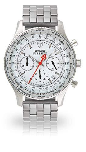 DETOMASO Firenze Herren-Armbanduhr Chronograph Analog Quarz silbernes Edelstahl Armband weißes Zifferblatt (Edelstahl - Silber)
