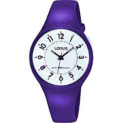 Lorus White Dial with Back Light Purple Resin Strap Ladies / Girls Watch R2323JX9