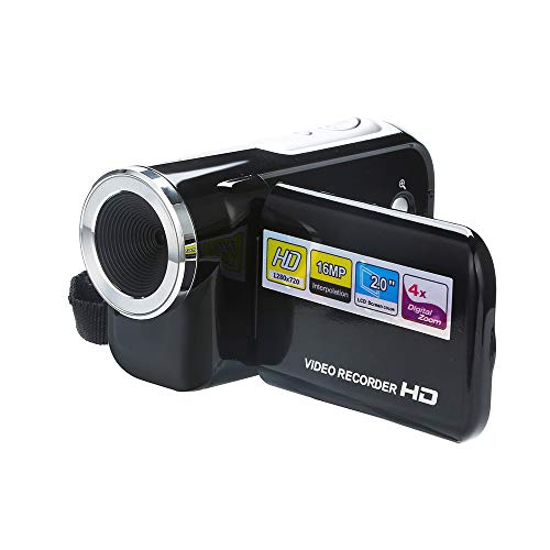 JIJI886 Video Camcorder,2.0 Zoll HD 1080P 5MP Anti-Shake Camera 4X Optischer Zoom Digitalzoom Kemara Digitalkamera Videokamera Kamera für Reisen Camping (Schwarz)