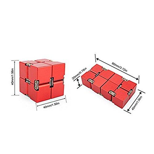 KENROLL Infinity Fidget Magic Cube Sensory Toy Alluminio Puzzle Box Design Anti Stress e sollievo di ansia Promuove la messa a fuoco, la chiarezza (Rosso) - 2