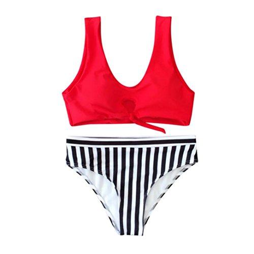 Transer® Frauen Mädchen Bikini Set, Knoten Hollowed Westen Bademode Hot Spring SPA Zweiteilige Badeanzüge (M, Rot)
