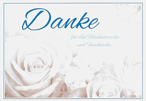 Danksagungskarten ohne Innentext Motiv weiße Rosen 25 Klappkarten DIN A6 im Querformat mit weißen Umschlägen im Set diverse Anlässe Hochzeit Geburtstag Dankeskarten Dankeschön Karten Danke sagen K37 (Dankeschön-karte-weiß)