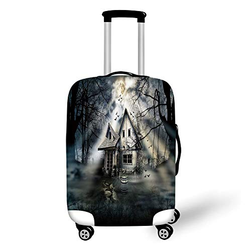 Suitcase Protector,Halloween,Haunted House with Dark Horror Atmosphere Cloudy Mysterious Frightening,Grey White Black,for Travel,M ()