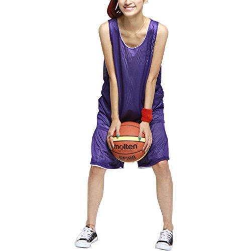 HOEREV Mädchen Reversible Sport Basketball Shorts und T-Shirts, keine Taschen