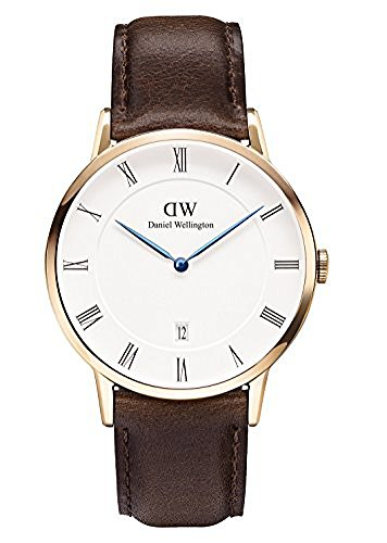Daniel Wellington Bristol Rose Date Genuine Brown Leather Strap Watch 1103DW