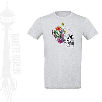 Herren T-Shirt 'Totenkopf-Blume gezeichnet' Baumwolle