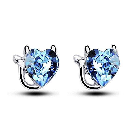 JunBo Pfirsich Herz Kristall Ohrringe Kleine Katze Exquisite -