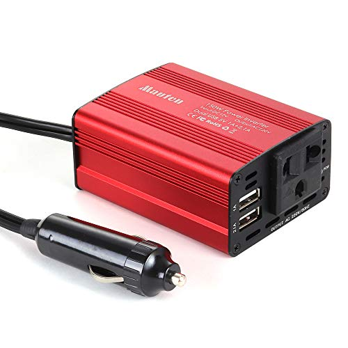 GMtes 150W Auto-Universal-Wechselrichter DC 12V zu AC 220V, mit Anschlussbuchsen und 2 USB-Ladeanschlüssen,Red