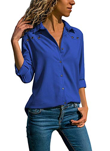 Quceyu Damen Bluse Langarm V-Ausschnitt Elegant Einfarbig Hemd Casual Oberteile Top (Blau, Large)