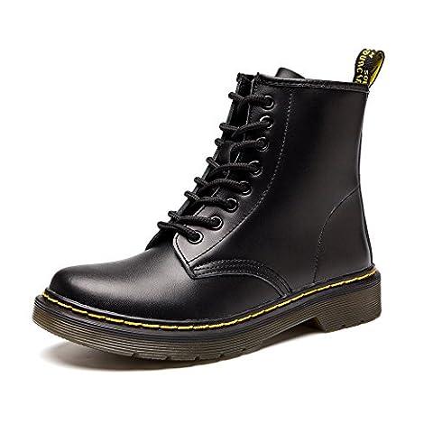 SITAILE Unisex-Erwachsene Bootsschuhe Derby Schnürhalbschuhe Kurzschaft Stiefel Winter Boots für Herren Damen schwarz 39
