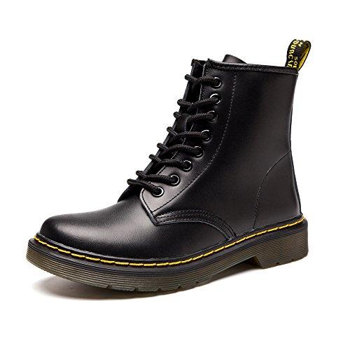 SITAILE Damen Herren Stiefeletten Leder Boots Kurzschaft Winterstiefel Knöchel Stiefel Warme Gefütterte Outdoor Winter Schuh,02-schwarz,eu43