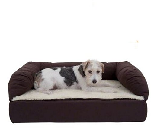 Cama ortopédica de espuma viscoelástica para perros, color marrón y beige, sofá cama cómodo ideal para perros mayores