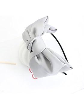 YEAH67886Style satin chiffon fascia Big Bowknot Hair Band Bow fascia per ragazza (grigio)