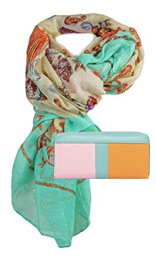 ommerlichen Muschel Design mit kleinen Glanzlichter Effekt zusammen mit Portemonnaie Geldbörse schönes Geschenk für Frauen (Muschel-geldbörse)