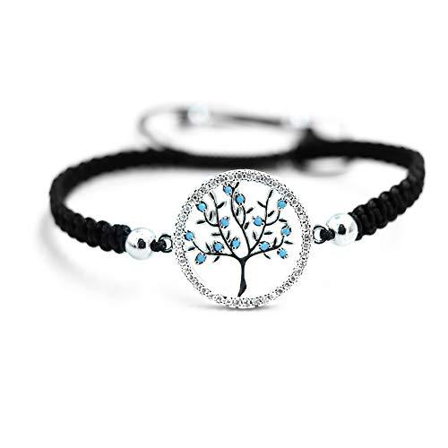 My Tree of Life Lebensbaum Armband - Stoff Armband mit Zirkonia Steinen, schwarzes Textil Band, Baum des Lebens Damen, größenverstellbar, Farben: Gold, Roségold und Silber (Silber)