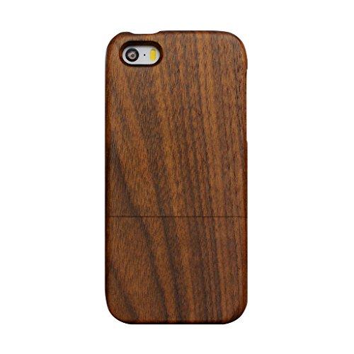 Echt Holz Hülle Natur Case für iPhone 6/ 6S, Skitic Hölzerne Nussbaum Hardcase Design Handy Schutzhülle Cover für Apple iPhone 6/ 6S 4,7 Zoll Smartphone Nussbaum