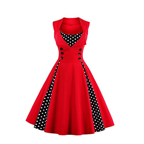 VKStar-Womens-Vintage-1950s-Inspired-Button-Swing-Evening-Dress-Rockabilly-Pinup-Bridesmaid-Cocktail-Gowns-Ball-Gown-Party-Dress