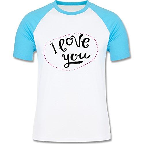 Valentinstag - I Love You Herzen aus Bällen - zweifarbiges Baseballshirt für Männer Weiß/Türkis