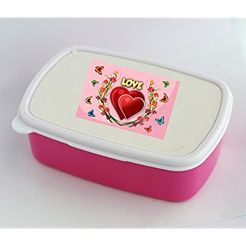 Lunch box with Flowers and butterflies around the hearts