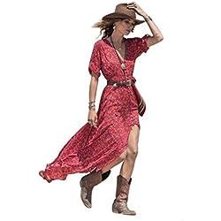 Yesmile Vestido de Mujer Falda Blanco Ropa Vestido Elegante de Noche Boda Boho Vestido Maxi Largo Floral de Gasa del Verano de las Mujeres (Rojo, M)