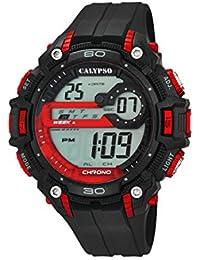 Calypso–Reloj digital unisex con LCD Pantalla Digital Dial y correa de plástico en color negro K5690/1