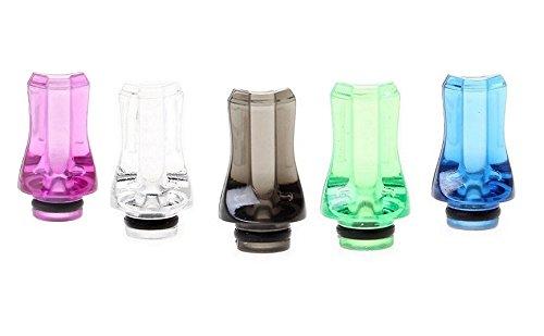FLAT Crystal-Acryl Drip Tip, fit für ViVi Nova / DCT und 510 Clearomizer im 5er Sparpack (5 Farben)