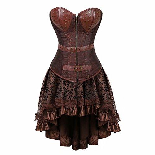 aizen Damen Gothic Steampunk Korsett Kleid Spitze Kostüm Burlesque Vollbrust Corsagen Leder Retro Gothic Halloween Rockabilly Braun ()