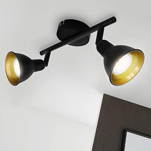 Briloner Leuchten LED Deckenleuchte, Wohnzimmerlampe schwarz-gold, inkl. 2 x LED/GU10 4W, 400 Lumen, Strahler dreh- und schwenkbar, retro/vintage, Metall, 4 W