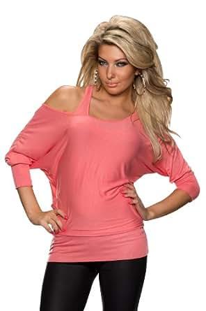 5774 Fashion4Young Damen Fledermaus-Shirt mit Top 2 in 1 verfügbar in 5 Farben Farben (Coral)