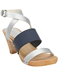 Estatos Leather Silver & Blue Buckle Closure Multi Strap Open Toe Stilettos