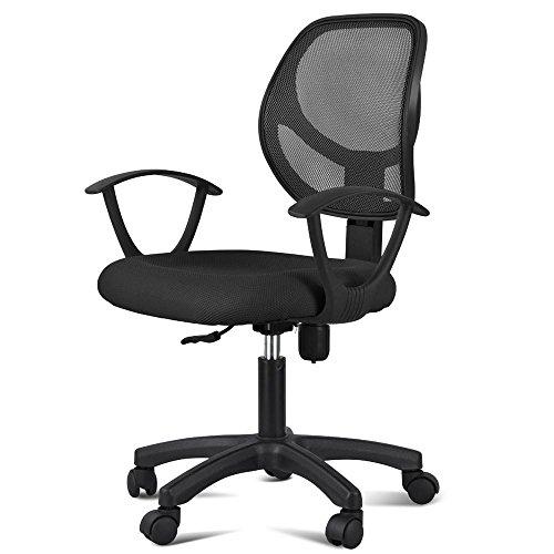 Yahee Bürostuhl Chefsessel Schreibtischstuhl höhenverstellbar mit Armlehne (Schwarz)