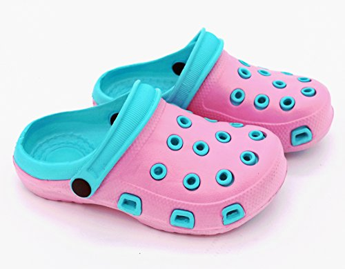 Fashion & Joy–Clogs - Ciabatte per bambini con cinturino alla caviglia e suola con scanalature–Ciabatte per il giardino o per il mare, sandali–Protezione e ottima aerazione durante l'estate–Ki Rosa - Türkis