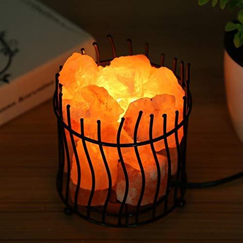 Desinger Eisenrahmen Natürlichen Kristall Salz Nachtlicht Lava Lampe Steinsalz Lampe Luftreiniger Home Zimmer Dekorative Lampe