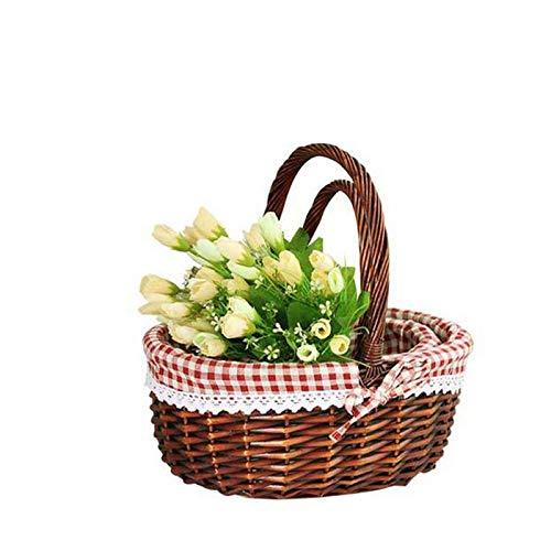SNXYLOW Wicker Ablagekorb Küche Multifunktions Mit Griff Willow Woven Leere Oval Für Eiersammeln Wein Obst Hochzeit -