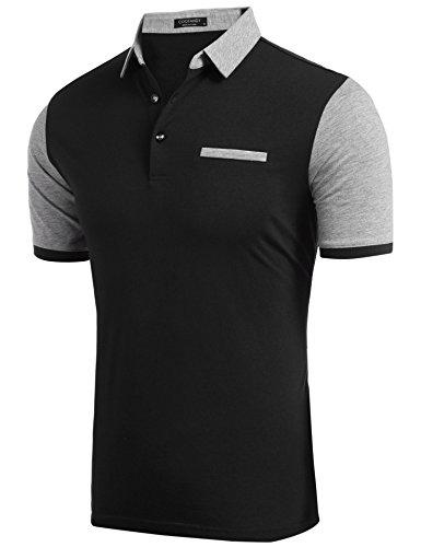 Coofandy Herren Poloshirt Kurzarm Patchwork T-shirt Freizeit Sport Stylisch Schwarz