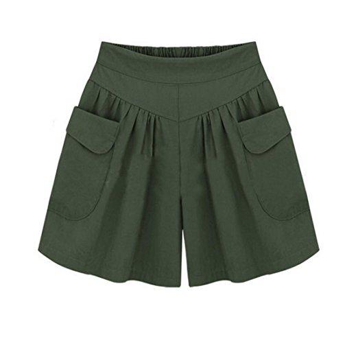 UFACE Damen Volltonfarbe Breites Bein Shorts Plus Größe Solide Lose Hot Pants Taschen Lady Sommer...