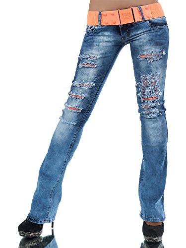l536-damen-jeans-hose-hufthose-damenjeans-huftjeans-bootcut-schlag-schlaghose-farbenblaugrossen36-s