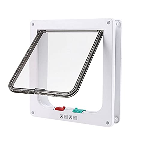 ShineBlue 4-Way Lockable Cat Flap Door (Medium, White)