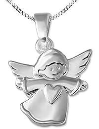 Clever Schmuck Ciondolo a forma di angioletto in argento da 12mm con cuore sul vestitino, finitura lucida e catena a maglia barbazzale da 38cm in argento 925,per bambini, con custodia