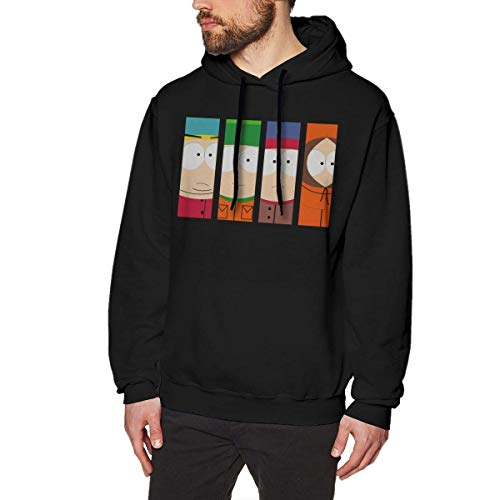 YANNAN South Park Season Mens Long Sleeve Sweatshirts Men's Hoodies Black (Star Sweatshirt Zip-hood)
