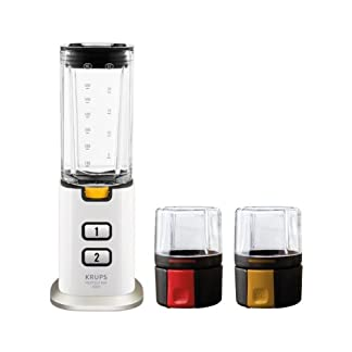 Krups-KB3031-Perfect-Mix-9000-Mini-Standmixer-300-Watt-inkl-Mahl-und-Zerkleinerungsaufsatz-weigrauEdelstahl-gebrstet