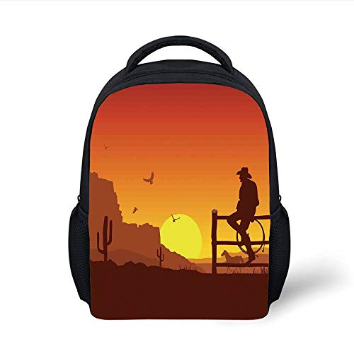 Western Silhouette (Kids School Backpack Western,Silhouette of Cowboy in Wild West Sunset Landscape American Culture Image Artsy Print,Burnt Orange Plain Bookbag Travel Daypack)