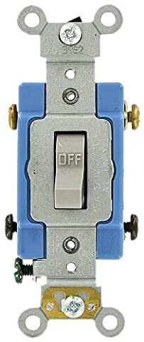Leviton 1202-2GY 15 Amp, 120/277 Volt, Toggle Double-Pole AC Quiet Switch, Extra Heavy Duty Grade, Self Grounding, Back and Side Wired, Gray by Leviton