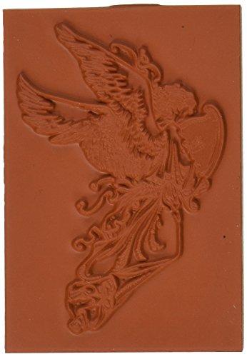 Deep Red Stamps Tief Rot Briefmarken Gummi selbst Stempel 2Zoll x 3-inch-angel W/Harfe