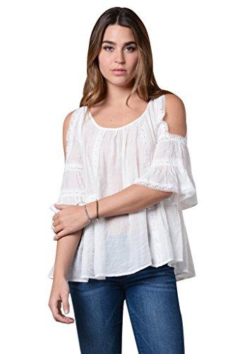 BOMOVO Damen Sommer Hot Neu Sexy Schulterfrei Rundausschnitt Volant Einfarbig T-Shirt Weiß
