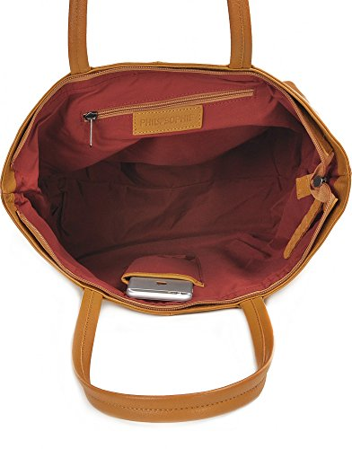 Shopper aus Leder, Gelb - elegante Tasche mit Reißverschluss, Schultertasche für Uni, Schule, Arbeit - für Tablet, Portemonnaie - 45 x 29 x 16 cm - Ledertasche von PHIL+SOPHIE Gelb (Senf)