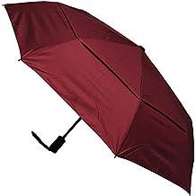 ... A Prueba DE Viento - Estructura Reforzada con Fibra de Vidrio - Doble Toldo Ventilado - Apertura y Cierre Automático - Paraguas Plegable - Rojo Burdeos