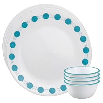 Corelle South Beach Glass Dinnerware Set, 8-Pieces, Blue/Green